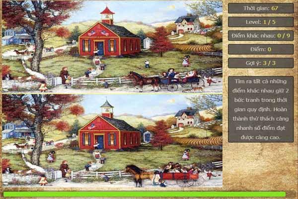 game tìm điểm khác nhau giữa 2 bức tranh